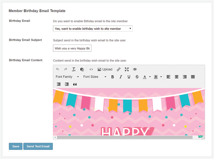 Configurable Birthday Email Template