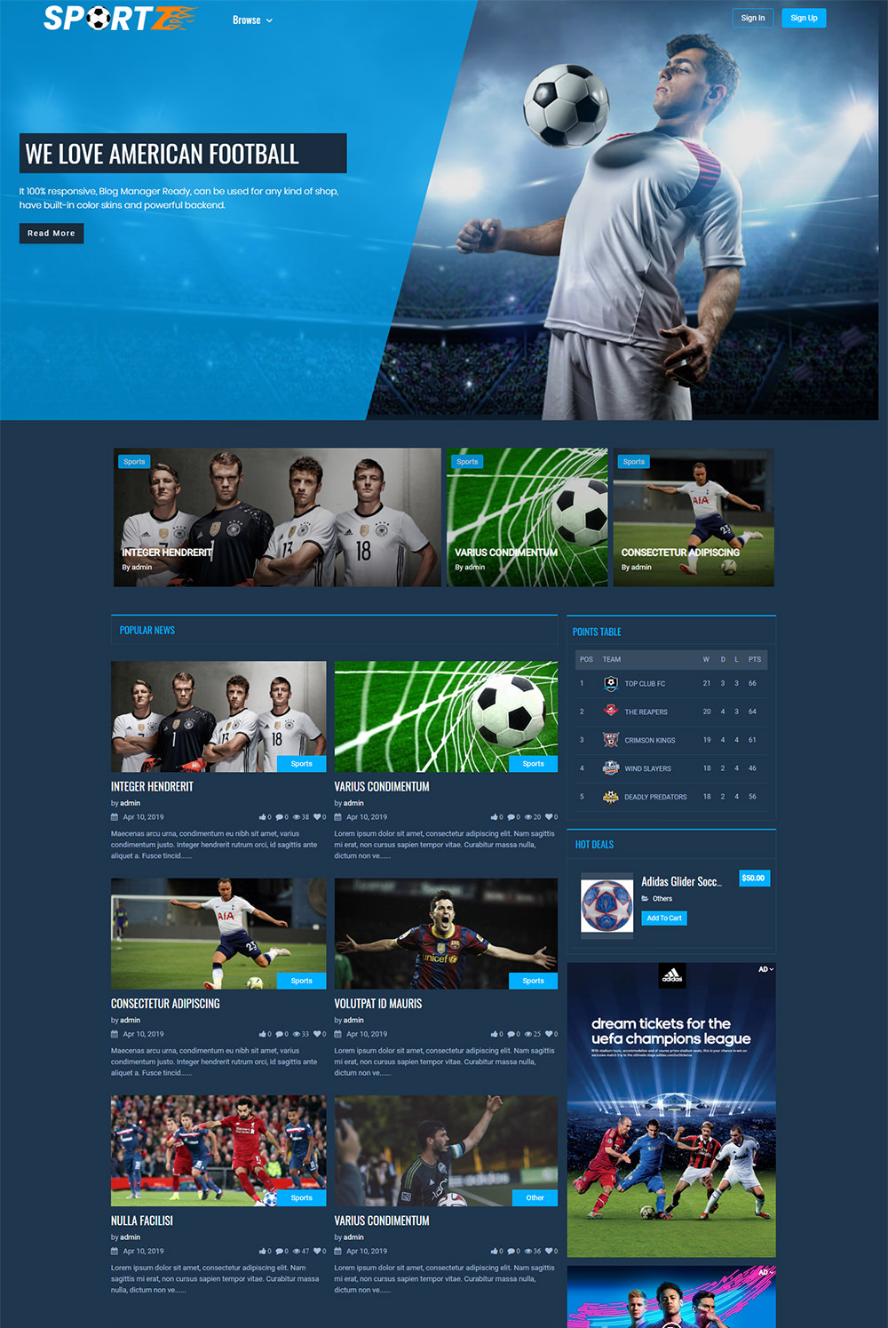 Multipurpose Sportz Theme