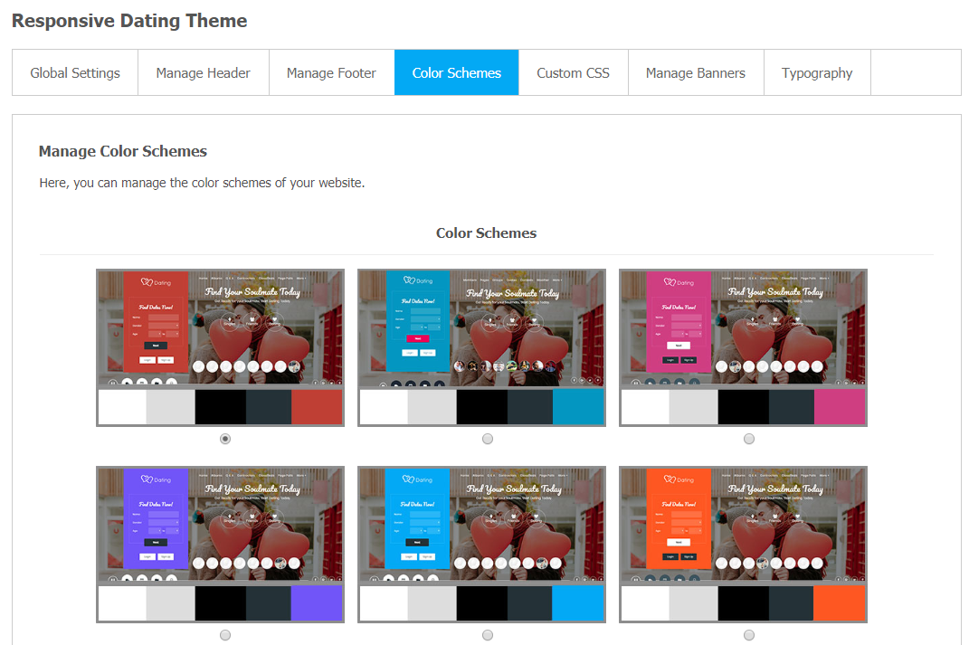 Responsive Dating Theme - Color Schemes