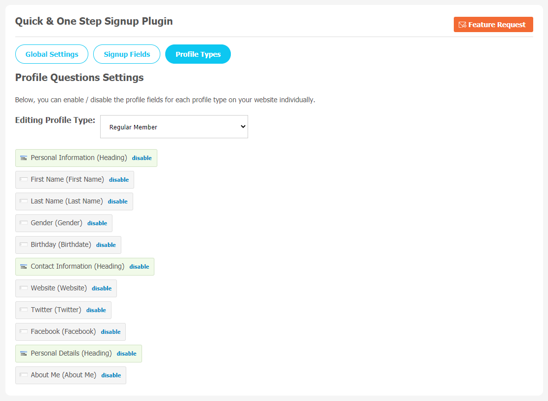 Quick & One Step Signup Plugin