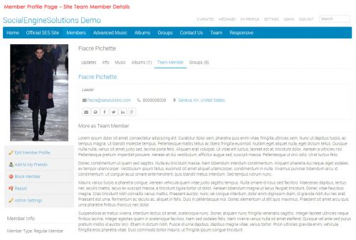Member Profile Page - Site Team Member Details