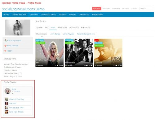 Member Profile Page - Profile Music