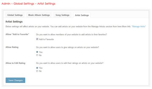 Admin - Global Settings - Artist Settings