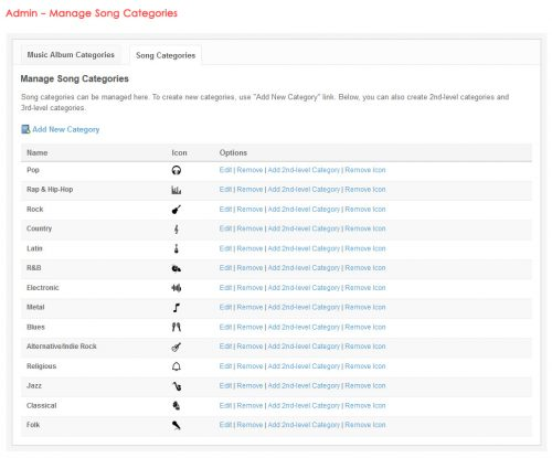 Admin - Manage Song Categories