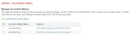 Admin - Accordion Menu