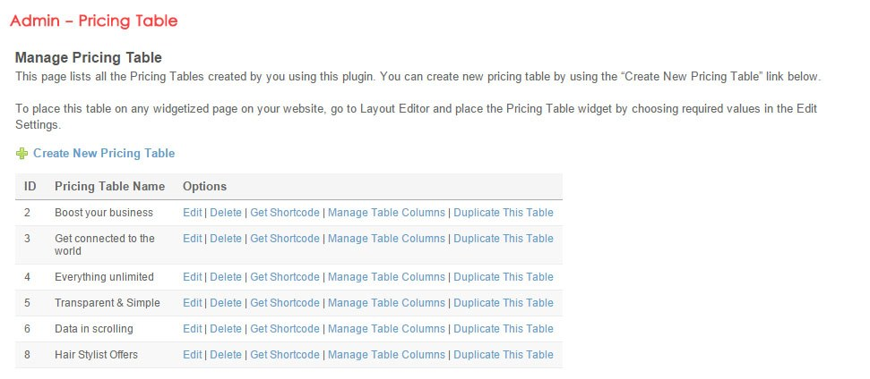 Admin - Pricing Table