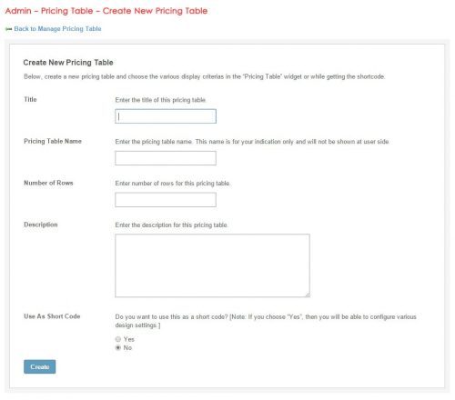 Admin - Pricing Table - Create New Pricing Table
