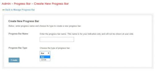 Admin - Progress Bar - Create New Progress Bar
