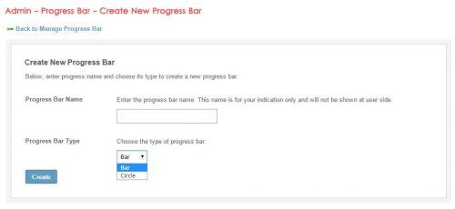 Admin - Progress Bar - Create New Progress Bar