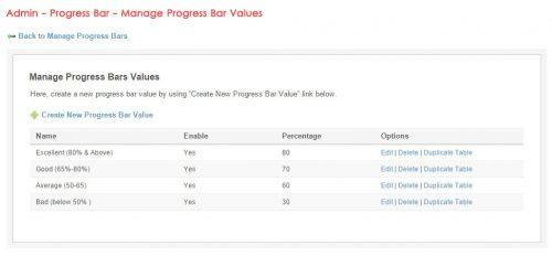 Admin - Progress Bar - Manage Progress Bar Values