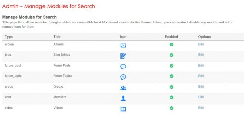 Admin Manage Modules for Search