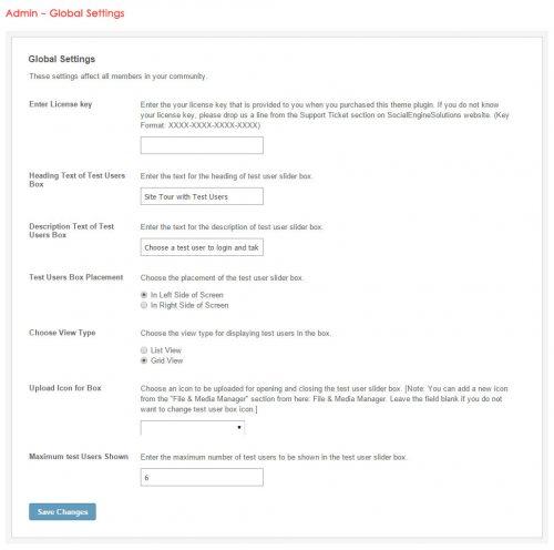 Admin - Global Settings
