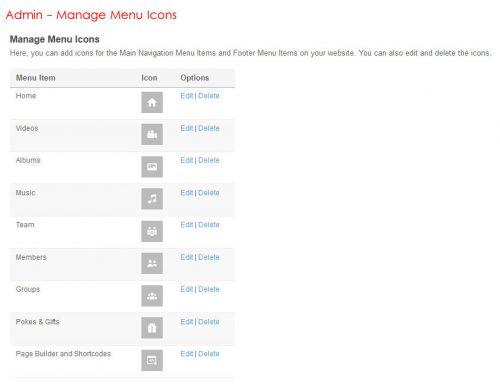 Admin Manage Main Menu Icons