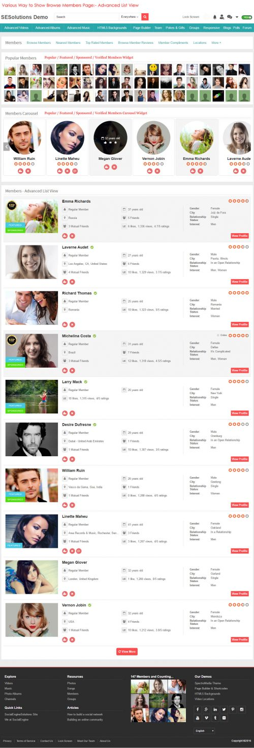 Various Way to Show Browse Members Page:- Advanced List View