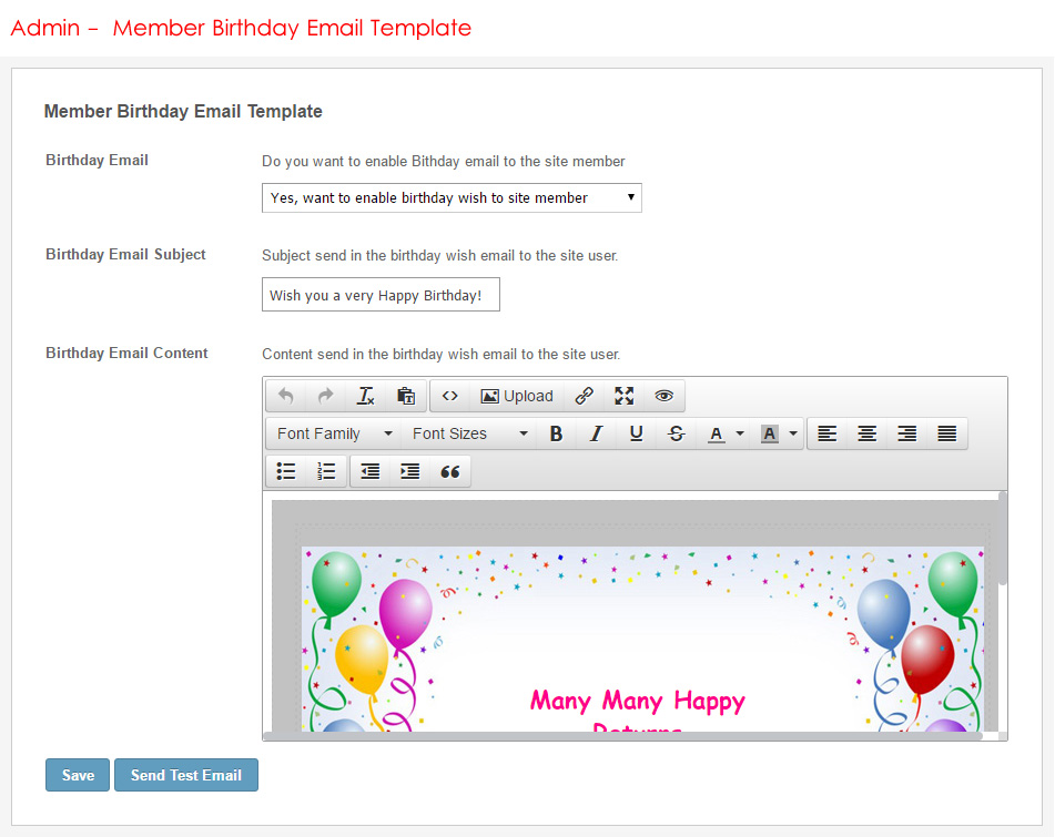 Admin - Member Birthday Email Template