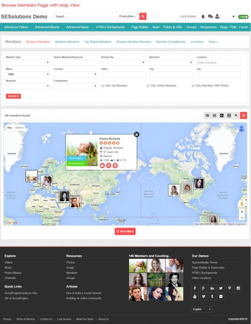 Browse Members Page with Map View