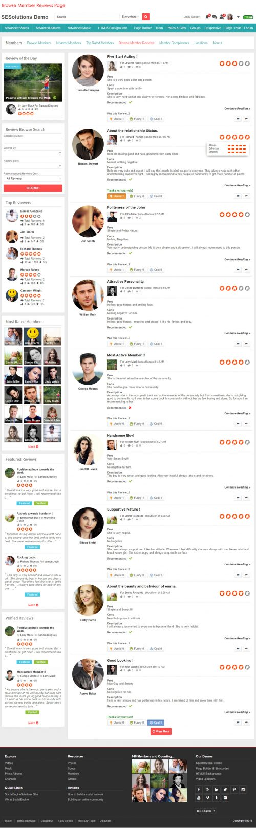 Browse Member Reviews Page