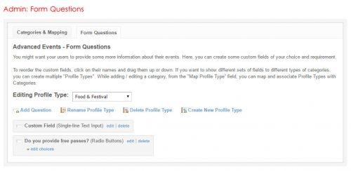Admin: Form Questions