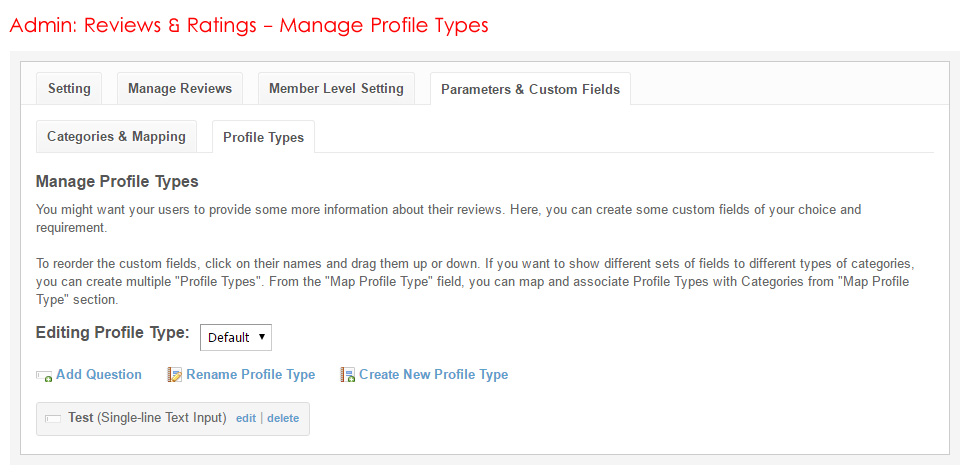 Admin: Reviews & Ratings - Manage Profile Types