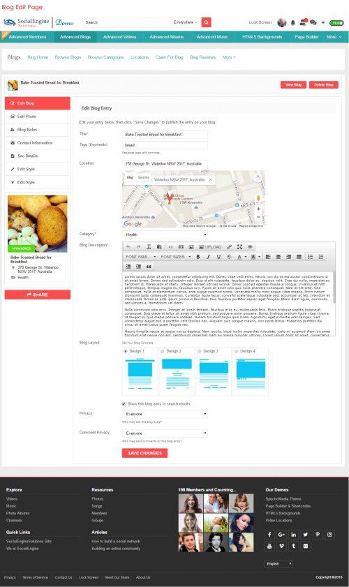 Blog Edit Page
