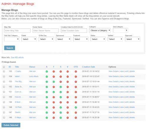 Admin: Manage Blogs
