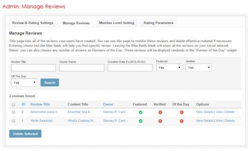 Admin: Manage Reviews