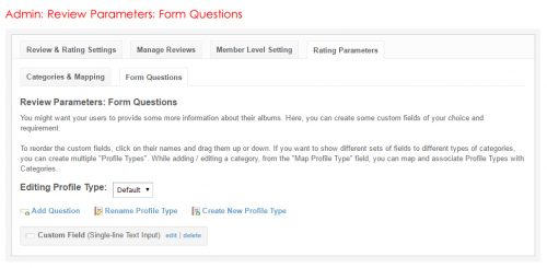 Admin: Review Parameters: Form Questions