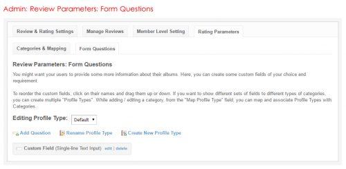 Admin: Review Parameters: Form Questions