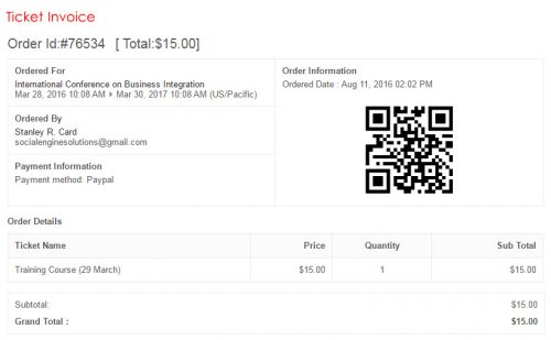 Ticket Invoice