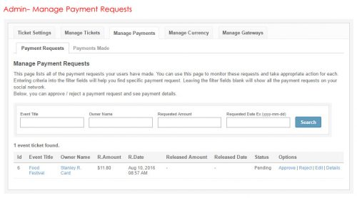 Admin- Manage Payment Requests
