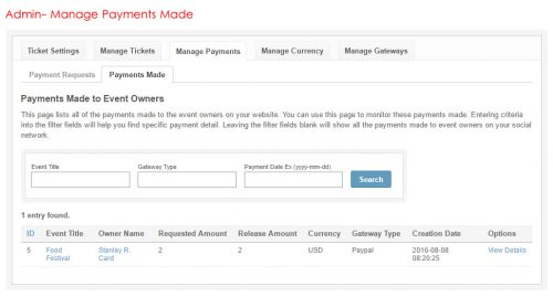 Admin- Manage Payments Made