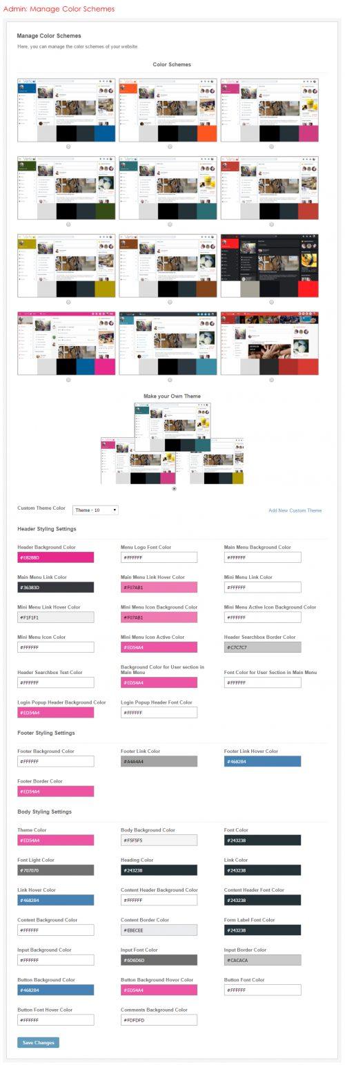 Admin: Manage Color Schemes