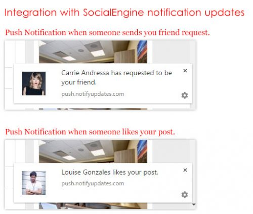 Integration with SocialEngine notification updates