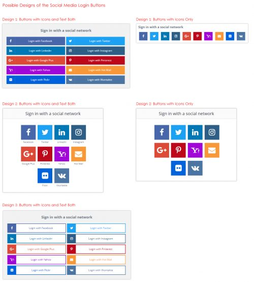 Possible Designs of the Social Media Login Buttons