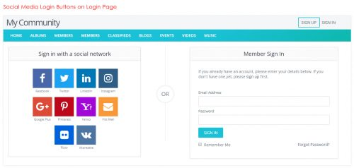 Social Media Login Buttons on Login Page