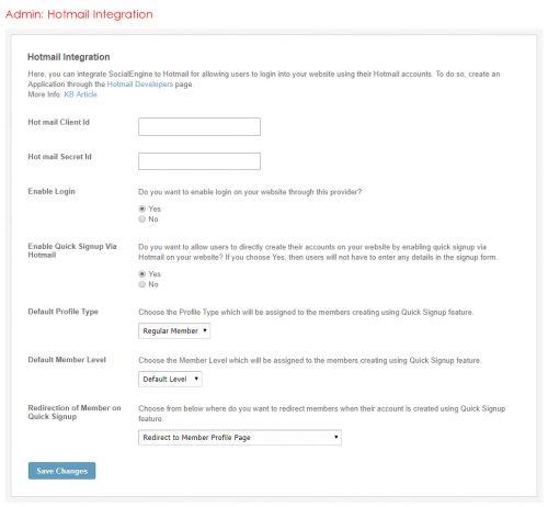 Admin: Hotmail Integration