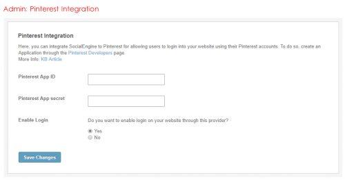 Admin: Pinterest Integration
