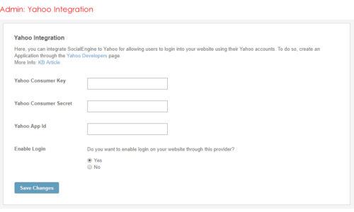 Admin: Yahoo Integration