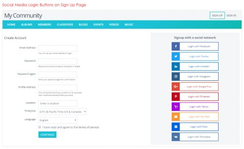 Social Media Login Buttons on Sign Up Page