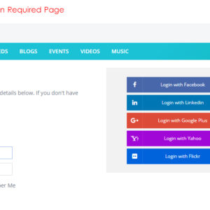 Social Media Login Buttons on Sign In Required Page