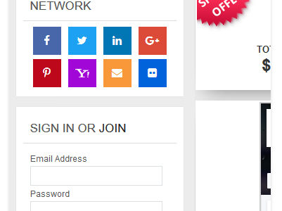 Social Media Login Buttons in Sidebar