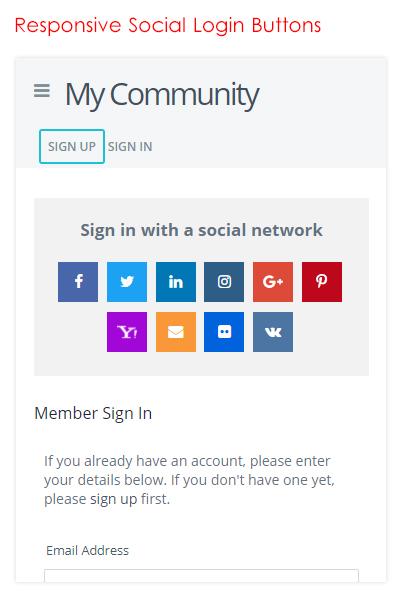 Responsive Social Login Buttons