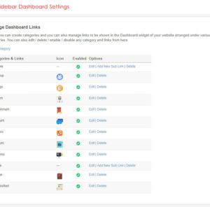 Admin: Sidebar Dashboard Settings