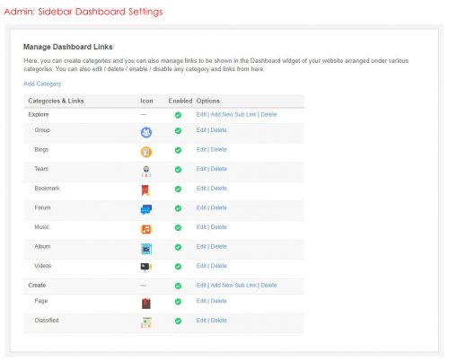 Admin: Sidebar Dashboard Settings