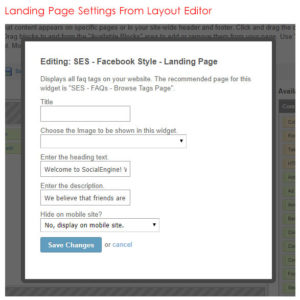 Landing Page Settings From Layout Editor