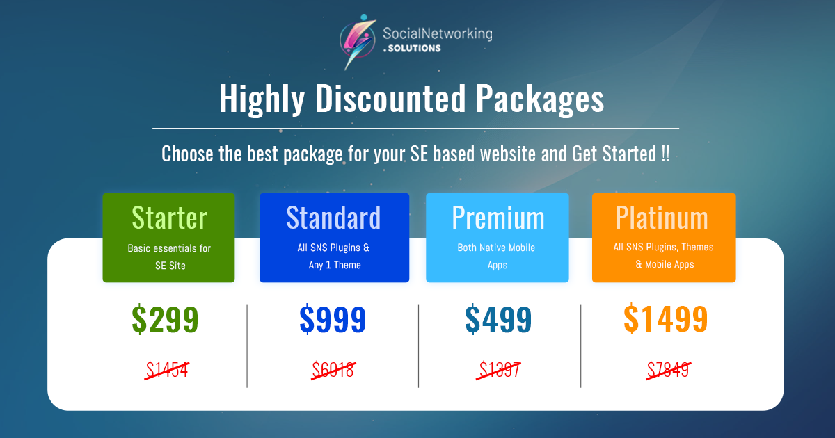 Highly Discounted Packages for all your SocialEngine website needs!