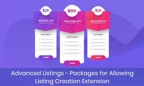 Advanced Listings – Packages for Allowing Listing Creation Extension