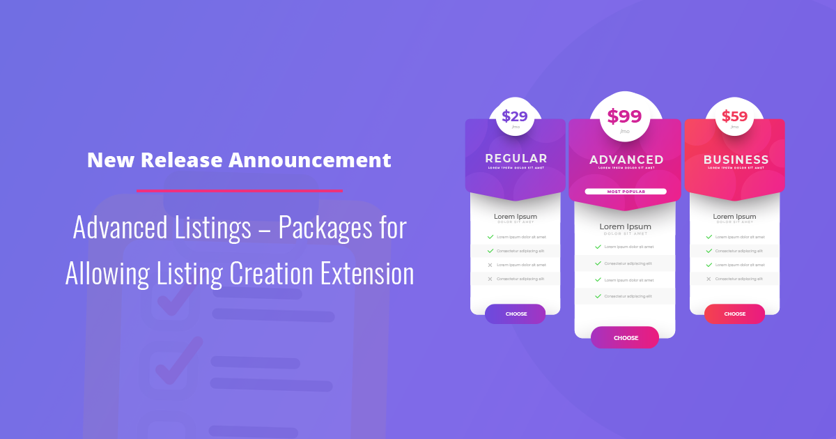 New Release Announcement - Advanced Listings – Packages for Allowing Listing Creation Extension