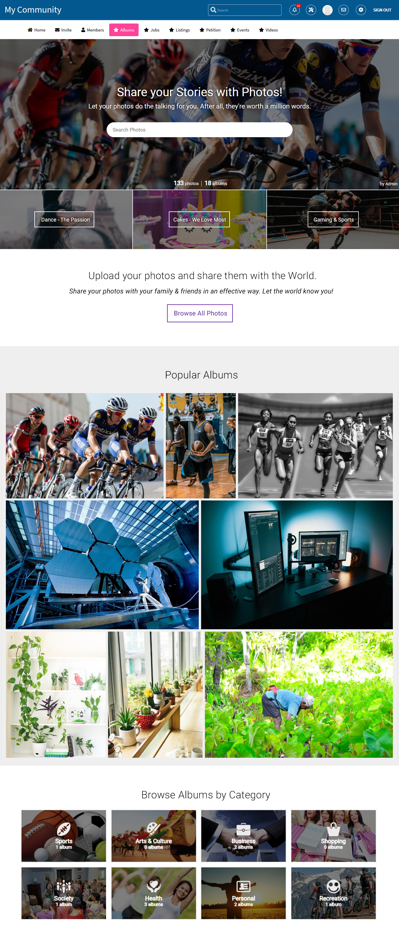 Advanced Photos & Albums Plugin Welcome Page