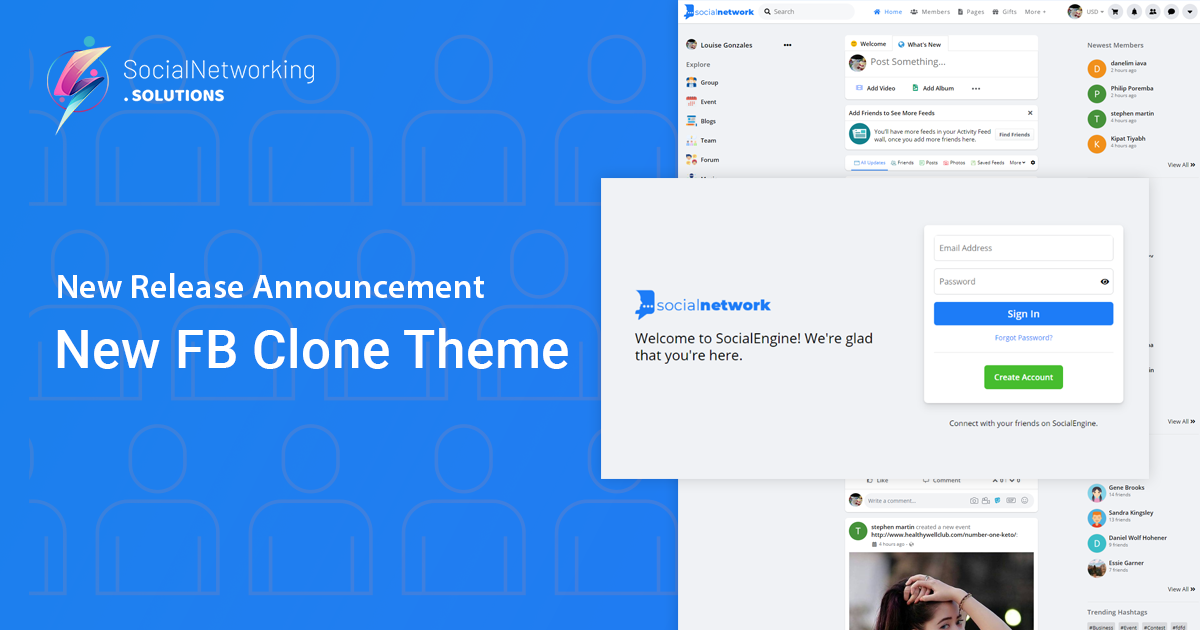 New Release Announcement – New FB Clone Theme